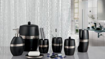 Dekoratif Siyah Modern Banyo Aksesuar Modelleri