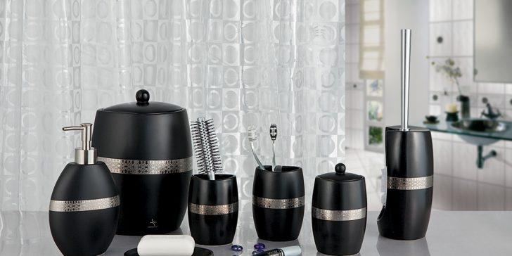 Dekoratif Siyah Modern Banyo Aksesuar Modelleri 2015