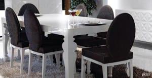 Zebrano Mobilya siyah beyaz pizzi yemek odasi