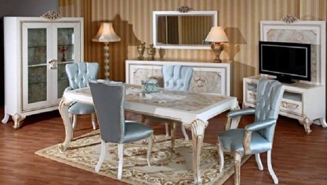 acik mavi klasik yemek odasi