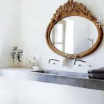 ahsap oymali cerceveli klasik banyo aynasi