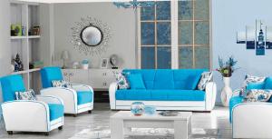 Aldora mavi beyaz oturma grubu modelleri