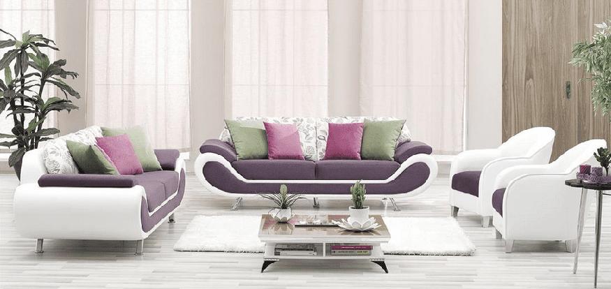 Aldora mor beyaz koltuk takımı modeli