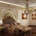 altin varakli klasik yatak odasi modelleri