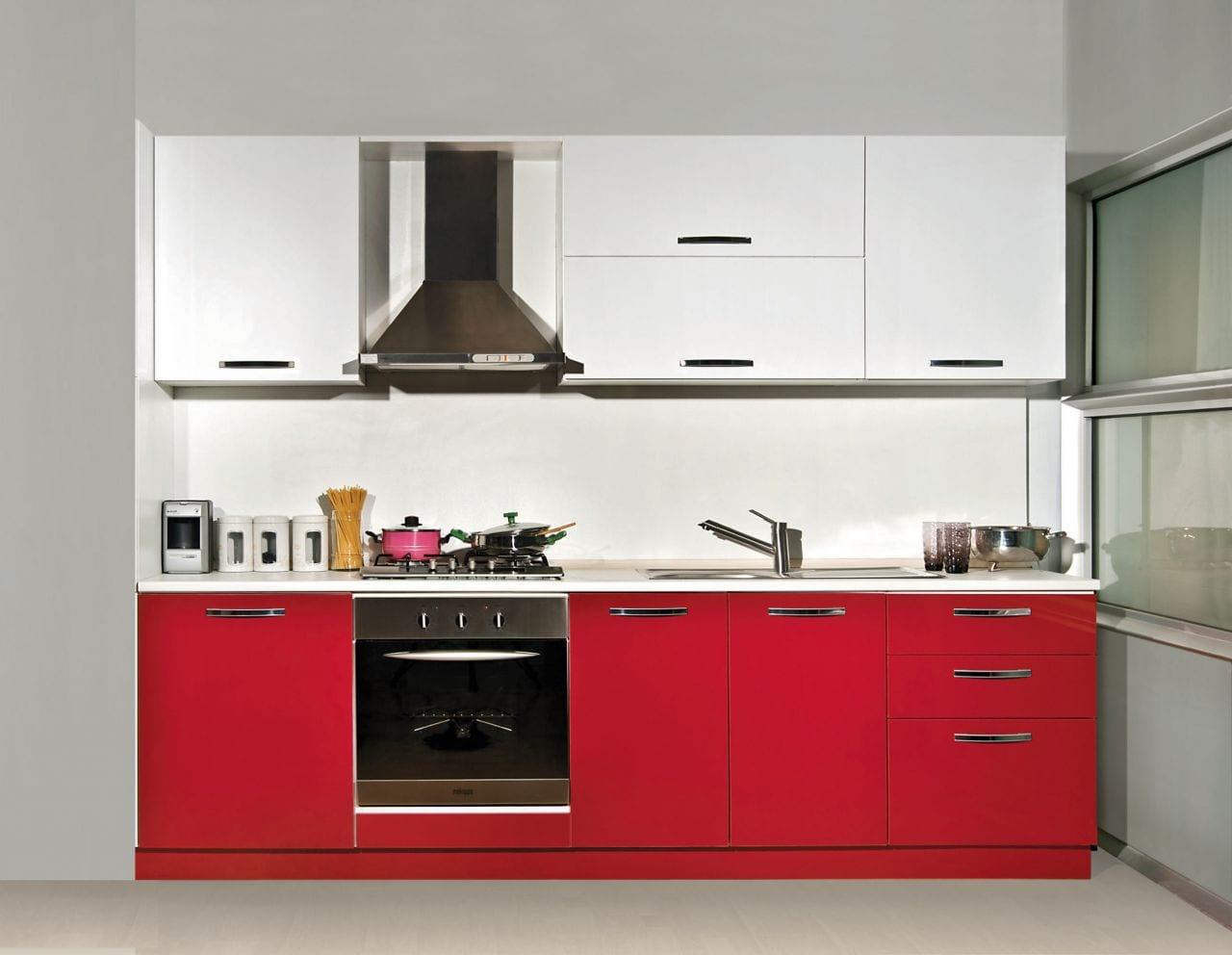 kirmizi beyaz kucuk modern mutfak
