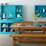mavi renkli eski stil mutfak dolaplari