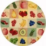 meyve desenli yuvarlak mutfak halisi