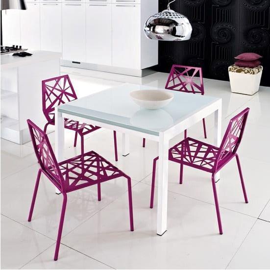 pembe beyaz modern mutfak masa modelleri