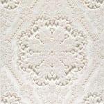 royal oyma desenli beyaz hali