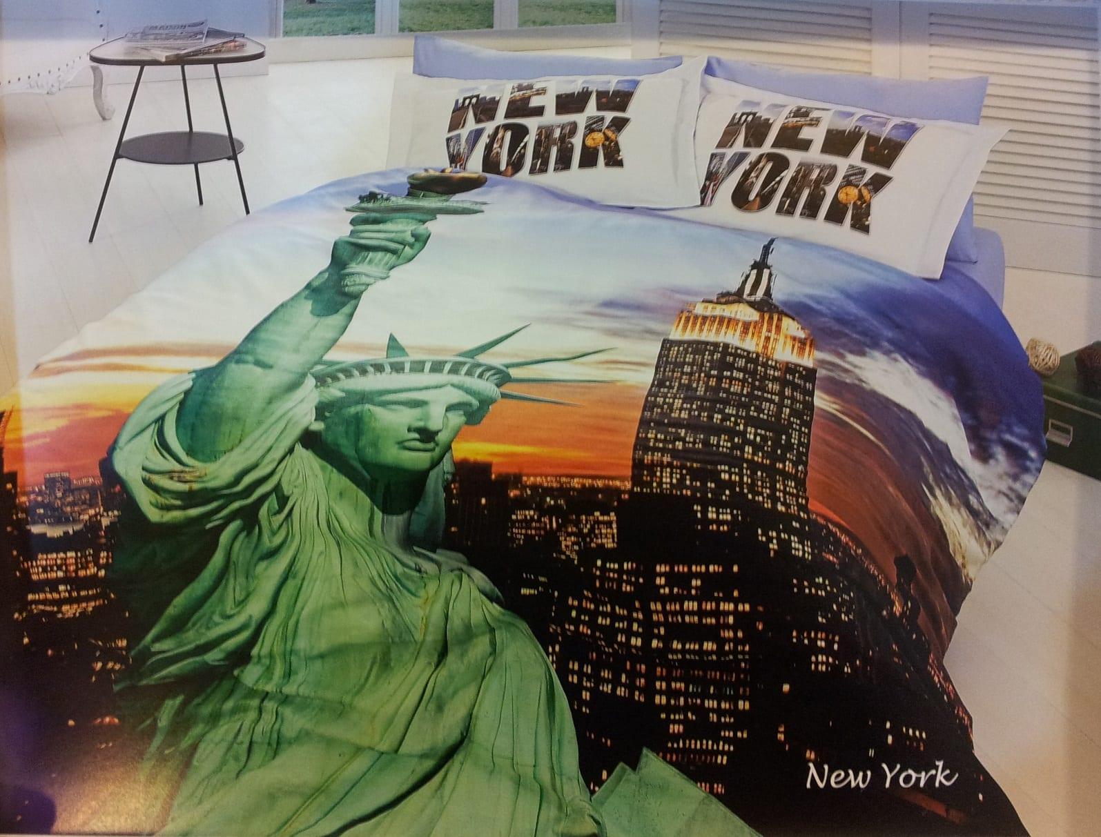 uc boyutlu new york resimli nevresim