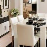 yatas enza siyah beyaz yemek odasi brida