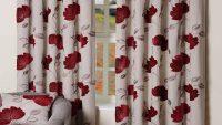Oturma Odaları İçin Çiçek Desenli Perdeler 2015