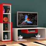 bacia kirmizi beyaz modern tv sehpasi