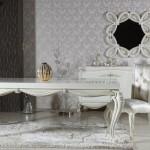 beyaz klasik yemek odasi