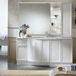 beyaz modern banyo dolap modeli