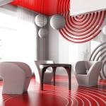 futuristic kirmizi beyaz dekorasyon modeli