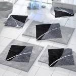 gri tonlarında dekoratif banyo paspaslari