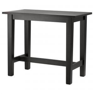 ikea siyah ahsap mutfak yemek masasi