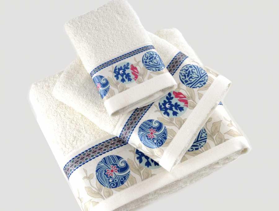irya home ethnic baskili banyo havlu seti mavi