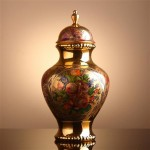 kapakli porselen dekoratif vazo