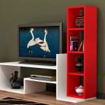 magia kirmizi beyaz modern tv sehpa modeli