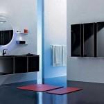 siyah modern banyo dolabi