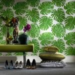 yaprak desenli salon duvar kagidi