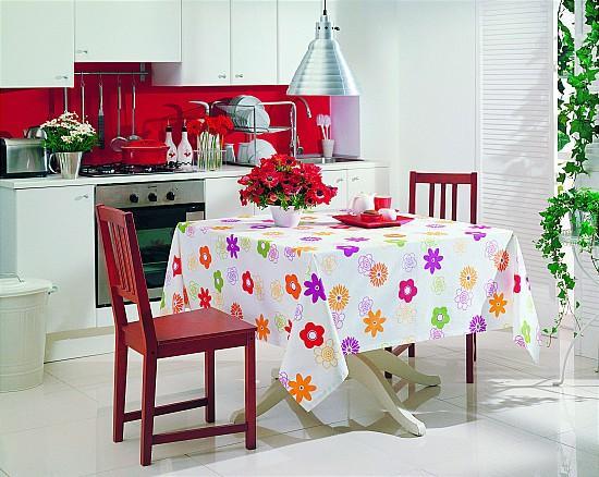 cicek desenli mutfak masa ortusu