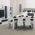 kilim siyah beyaz yemek odasi