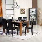 merinos siyah ve ahsap yemek odasi