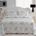 siyah beyaz gul desenli tepe home yatak ortusu