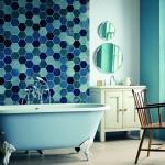vintage tarzı mavi banyo dekorasyonu