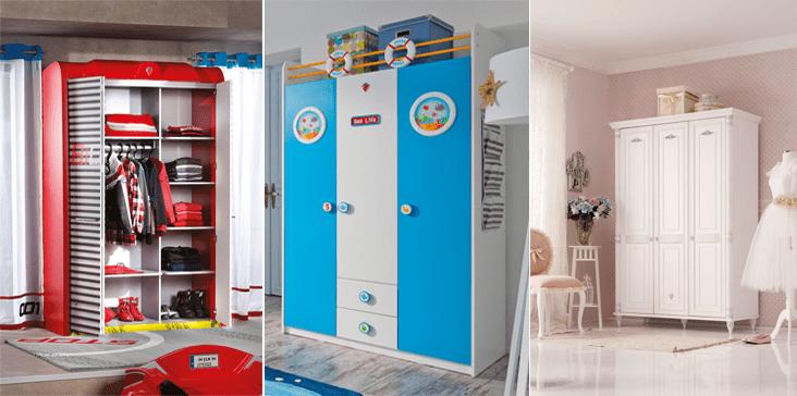 2018 Çilek çocuk odası gardırop modelleri