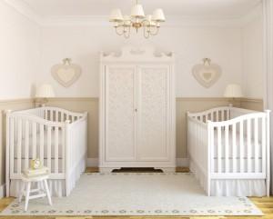 beyaz ikiz bebek odasi dekorasyonu
