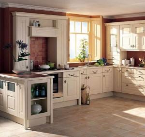 Country Tarzı Krem Rengi Mutfak
