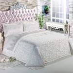 Elart beyaz saten yatak örtüsü