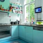 etkileyici turkuaz rengi mutfaklar