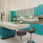 mutfaklarda turkuaz rengi dolaplar
