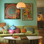 renkli vintage salon dekorasyonu