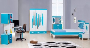 tirtil mavi beyaz genc odasi takimi