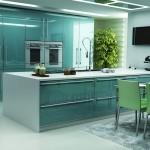 turkuaz rengi modern mutfak dolaplari