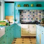 turkuaz rengi mutfaklar