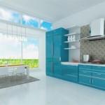 turkuaz renkli mutfak dolabi