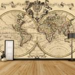 vintage harita desenli duvar kagidi