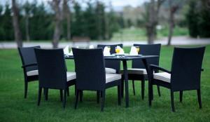 Yeni moda tepe home siyah hasır bahçe masa takımı
