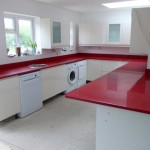 cimstone kirmizi renkli mutfak tezgahi