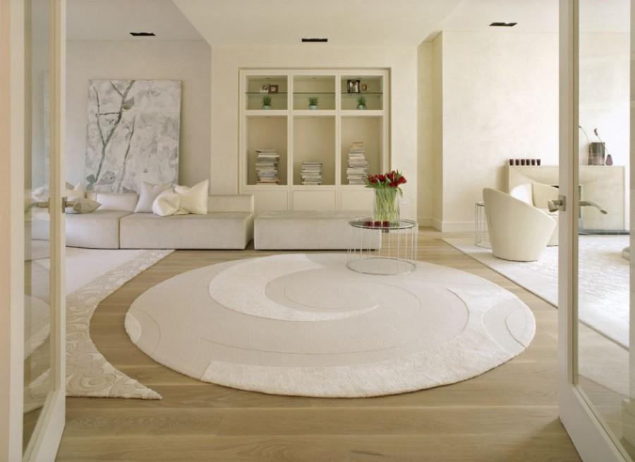 dekoratif beyaz yuvarlak salon halisi