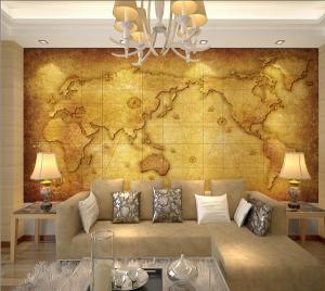 dekoratif harita duvar kagidi