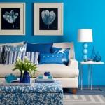 mavi beyaz yazlik ev dekorasyonu