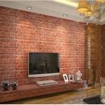 tuğla desenli dekoratif duvar kağıdı tv arkası